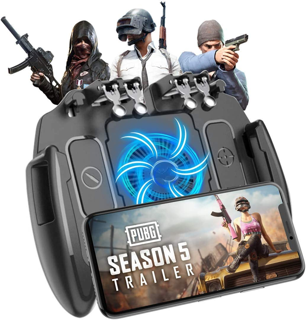 "Mobile Game Controller, Upgrade 6 Fingers Operation Joystick Mobile Game Trigger with Cooling Fan Compatible for PUBG/Fortnite, for 4.7-6.5"" iPhone Android iOS Cellphone Gamepad Accessories"