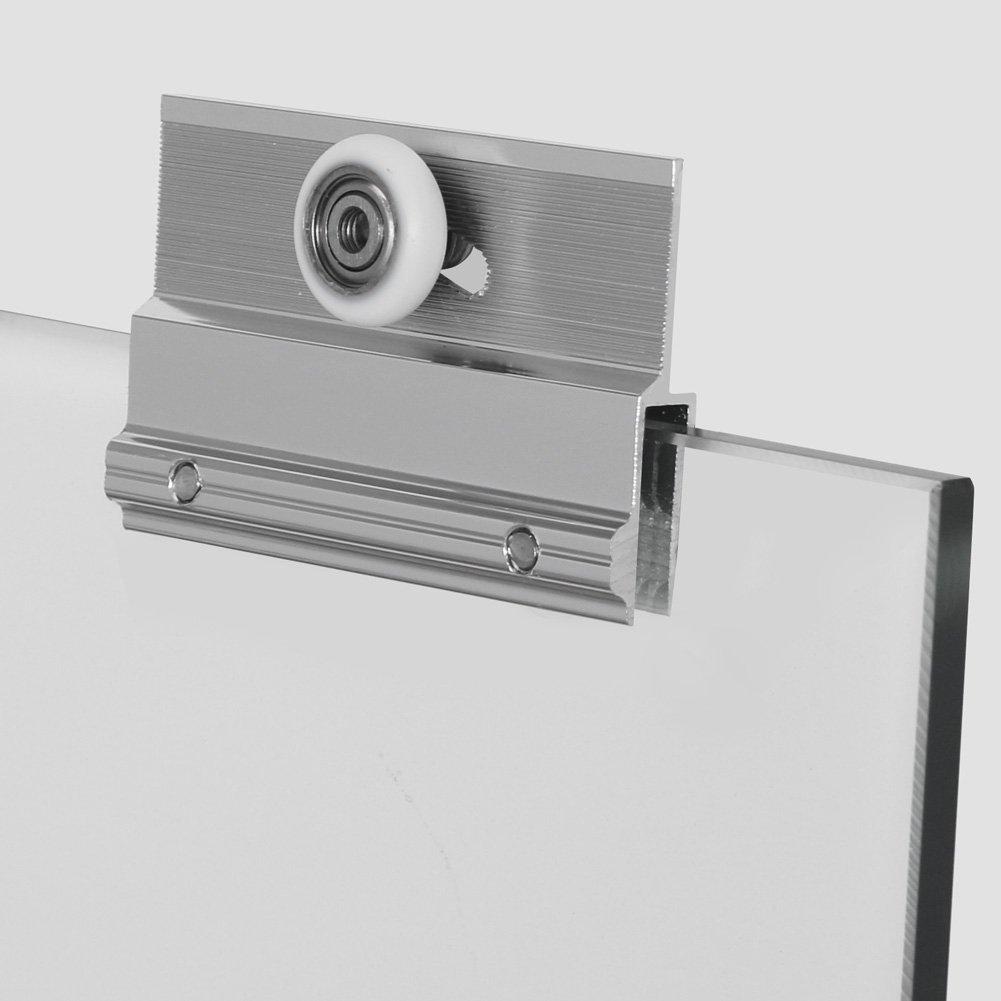 SUNNY SHOWER Model# B020. Frameless Bypass Sliding Bathtub Doors, 56'' - 60'' Width, 1/4'' Clear Glass, Chrome Finish