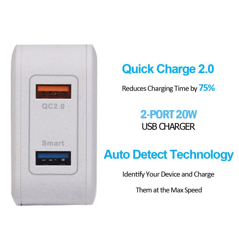 Lumsing Quick Charge 2 Port Wall Charger, 20W QC2.0 Dual USB Port Travel Charger for iPhone,Samsung Galaxy S5 S6 Edge Note 4 5, Google Nexus 6, Sony Xperia Z3 Z4 Tablet-Grey by Lumsing (Image #5)