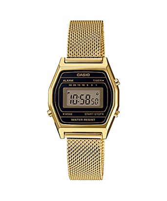5520f67fb347 Amazon.com  Casio LA690WEMY-1 Women s Vintage Youth Gold Tone Mesh Band  Alarm Chronograph Digital Watch  Watches