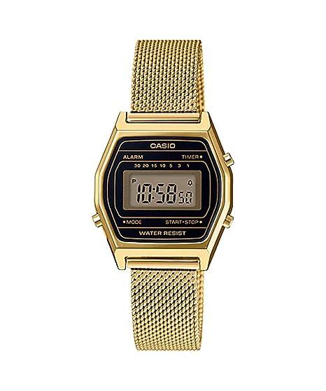 Casio LA690WEMY-1 - Reloj Digital con cronógrafo y Correa de Malla en Tono Dorado Vintage para Mujer: Amazon.es: Relojes
