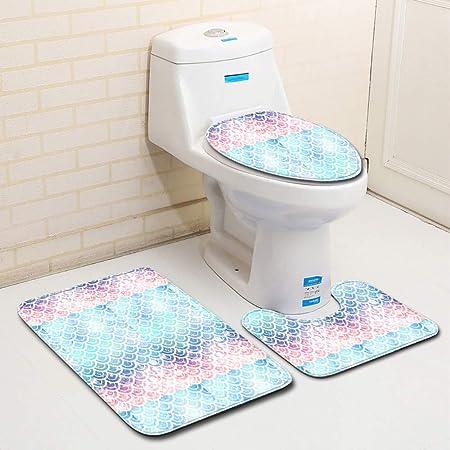 FPDragon Octopus Legs Bathroom 3-Piece Mat Sets Pedestal Mat+Lid Toilet Cover+Bath Mat Doormat Non-slip Rug