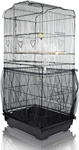 ASOCEA Extra Large Bird Cage Seed Catcher Guard Universal Birdcage Cover Nylon Mesh Net for Parrot Parakeet Macaw Lovebird African Grey - Black (Not Include Birdcage)