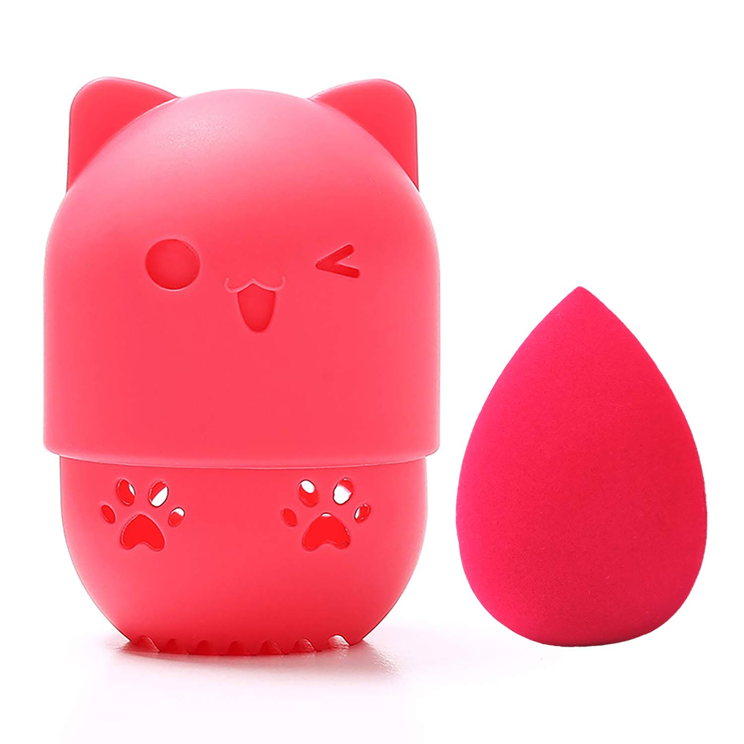 [Allure & Co.] Soft Makeup Sponge and Cute Cat Shaped Container Set - Travel Case for Beauty Blender (Red)