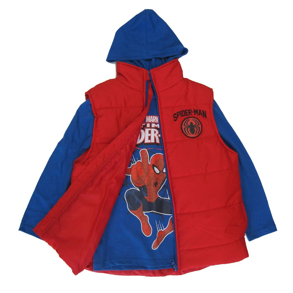 Marvel Big Boys Royal Blue Red Spiderman Print Hooded Shirt Puffer Vest 8-16 ABC Brands Inc.