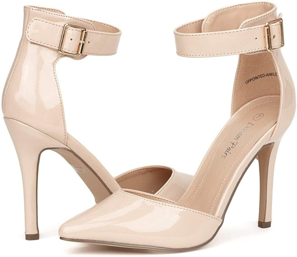 DREAM PAIRS Oppointed-Ankle Womens Pointed Toe Ankle Strap DOrsay High Heel Stiletto Pumps Shoes.