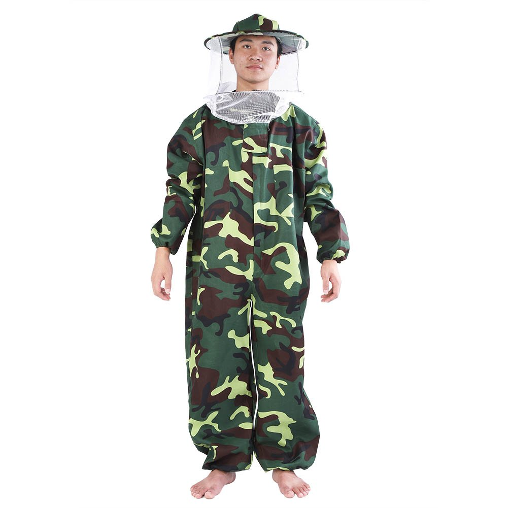 GLOGLOW Protective Beekeeping Suit Professional Beekeeper Suit Camo Bee Keeping Jumpsuit Beekeeping Equipment with Round Veil(XXL)