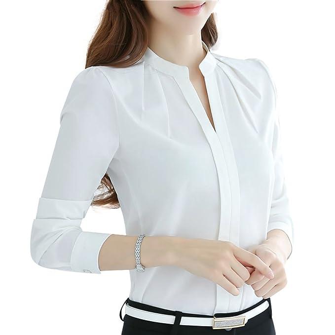 Mujeres Manga Larga Camisetas - Elegante Color Sólido Gasa Shirt Cuello en V Blusa Trabajo Oficina OL Camisa Casual Tops para Otoño Primavera: Amazon.es: ...