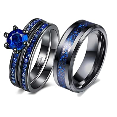 9021eec64b Image Unavailable. Image not available for. Color: LOVERSRING Couple Ring  Bridal Sets His Hers 10k Black Gold Filled Blue Cz Stainless Steel Wedding