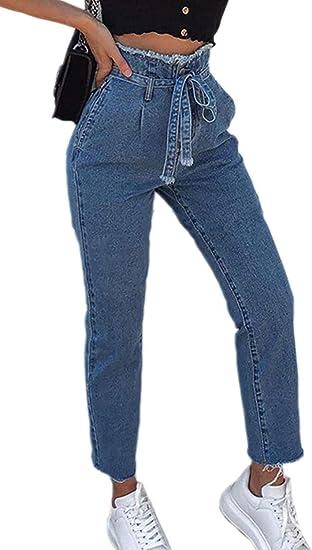 Hx Fashion Damas Long Paperbag Mezclilla Jeans Pantalones De Con Cinturon Tamanos Comodos De Cintura Alta Moda 2019 Ropa De Mujer Amazon Es Ropa Y Accesorios