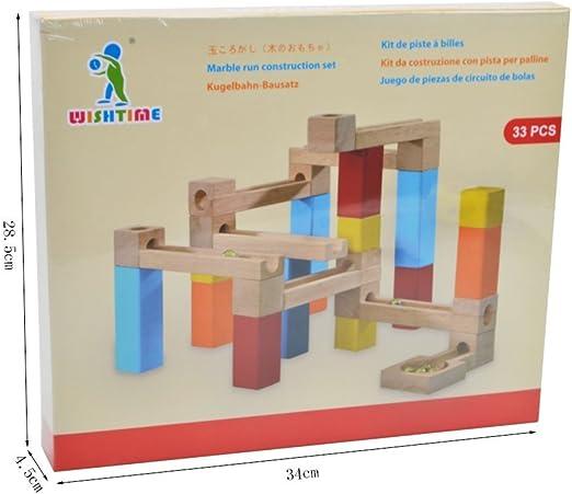 WISHTIME Circuito Pista de canicas de Madera 33 Piezas de construcción para niños para un Aprendizaje temprano, Coloreada y Natural Bloques de Madera Pista de Canicas: Amazon.es: Juguetes y juegos