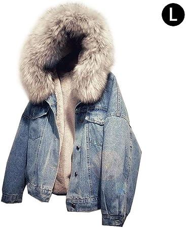 Veste en Jean Femmes Veste à Capuche en Couches Casual Denim Manteaux Bouton Avant Chaud Jean Blouson de Sweat à Capuche Outwear Automne Hiver