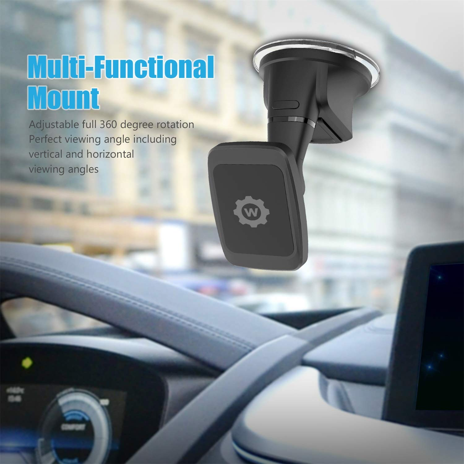Dashboard Mount New Rectangle Head Magnetic Dashbord mount WizGear Universal Magnetic Car Mount Holder Windshield Mount and Dashboard Mount Holder for Cell Phones with Strong Dashboard Gell