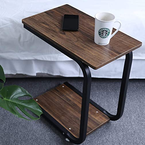 OROPY Industrial Sofa Side Table, C Shape End Table 2 Tier Shelves for Coffee, Laptop, Snacks in Bedroom Living-Room