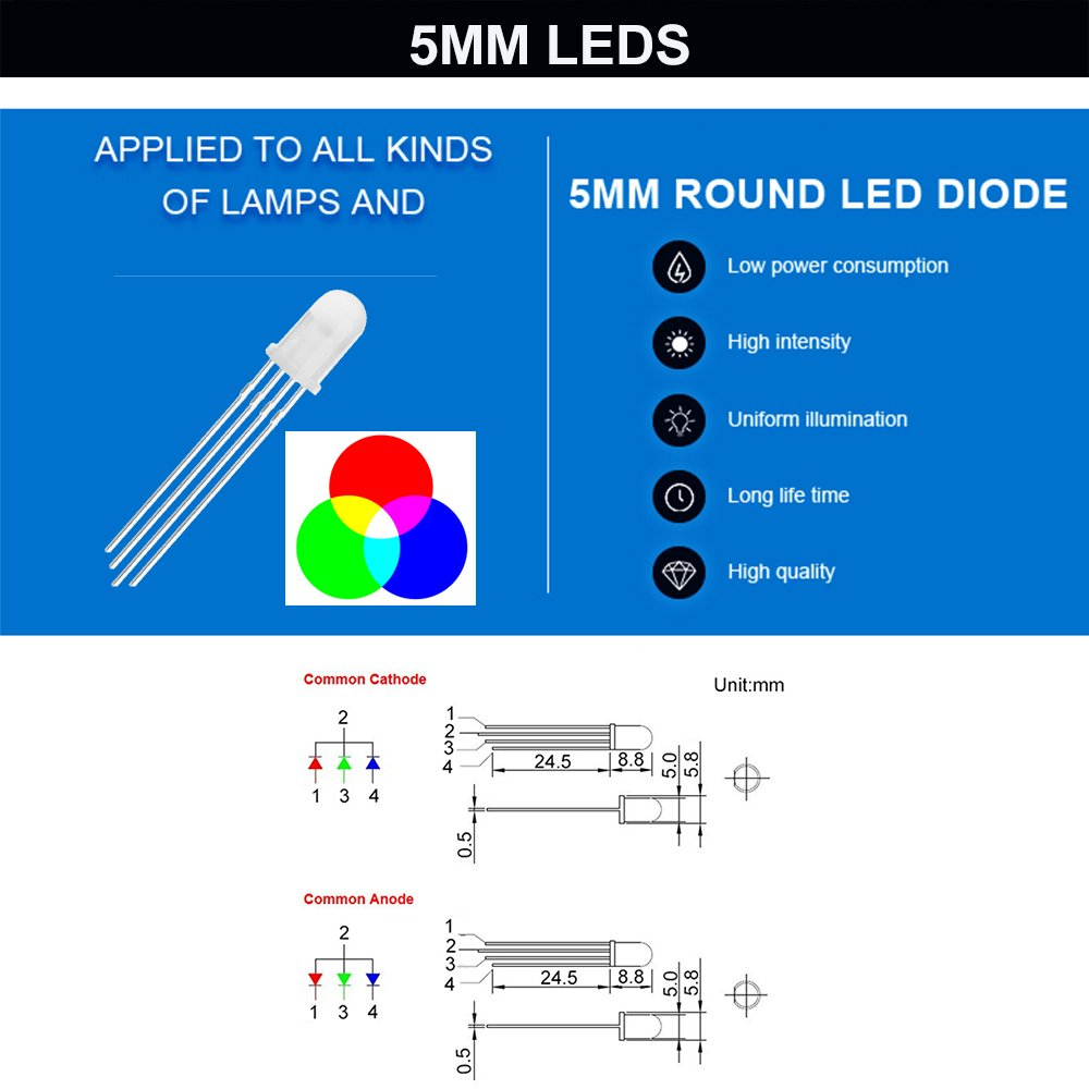 Co Rode Rgb Led 3mm 5mm Diode Light Kit With Color White Red Tri Circuit Encoder Blue Green Yellow Uv Fast Slow Flashing