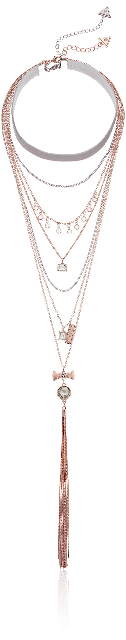 GUESS Duo Layered Neck W Stones Y Shaped Necklace, Silver, One Size
