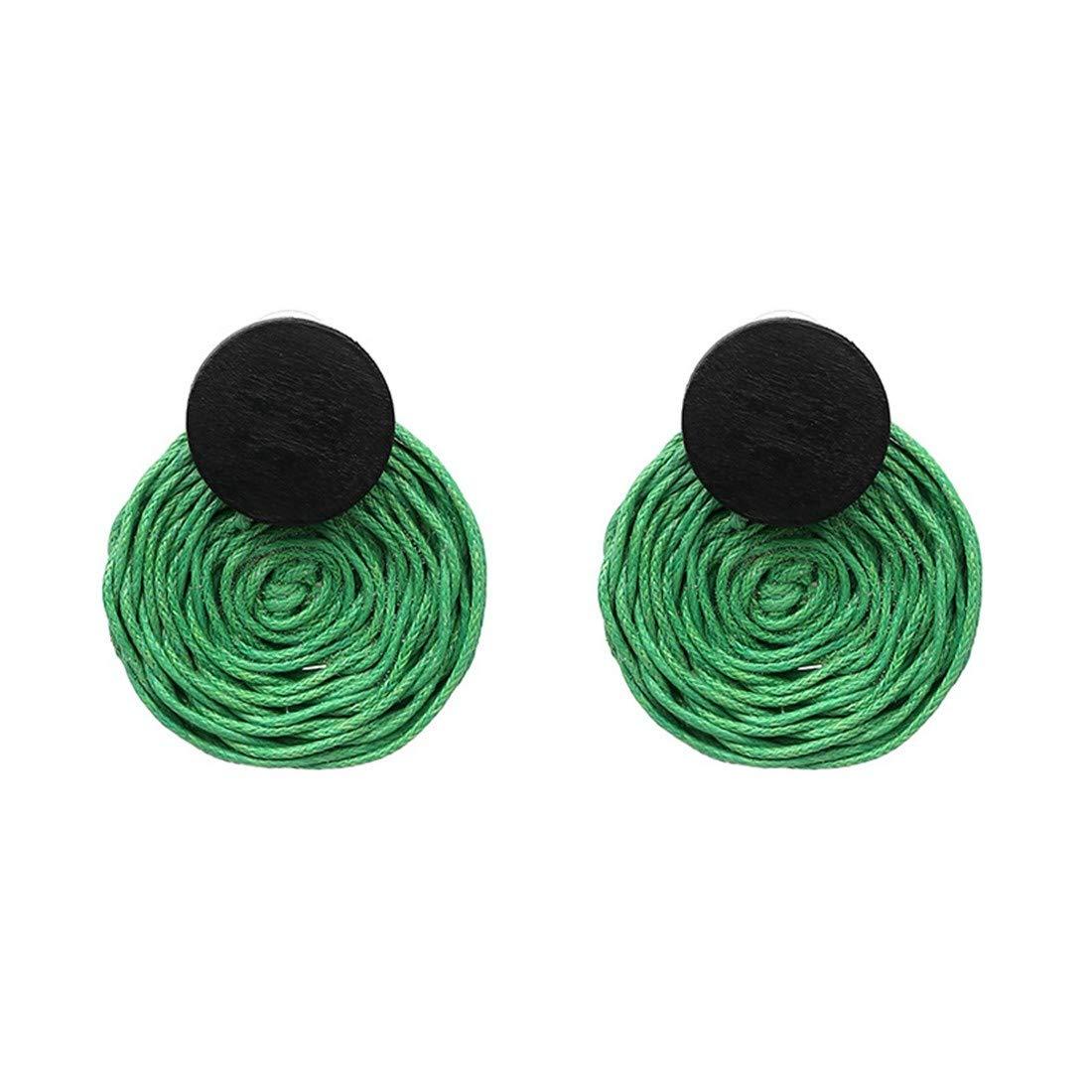 round wood stud earrings. hemp thread ball earrings|clip on earrings|ear cuffs|dangle earrings|earring jackets|hoop earrings|stud earrings|Lovely ear studs