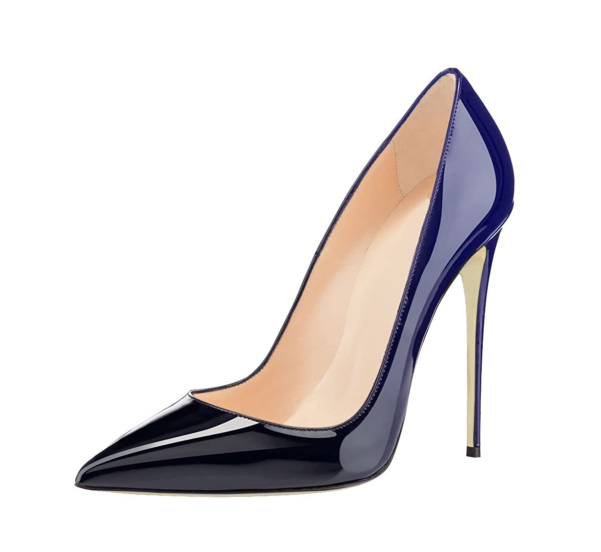 Ranbetty Women Pointed Toe Stiletto High Heel Gradient Color Patent Leather Dress Pump Shoes