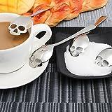 Skull Sugar Spoon 18/10 304 Stainless Steel Tea and Coffee Stirring Spoon Set of 4PCS Kitchen Dinnerware Set in Silver