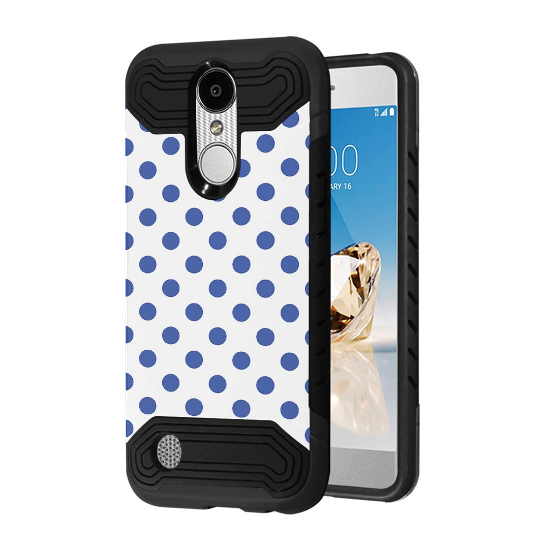Case Compatible with LG Aristo 2 (X210), Aristo 2 Plus, Fortune 2, Rebel 3, Risio 3, Tribute Dynasty, Zone 4, K8, K8 Plus 2018 [Moriko Slim Black Case] for LG Aristo (Polka Dot Blue)