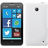 kwmobile CUSTODIA IN TPU silicone per Nokia Lumia 630 Design linea S bianco - Stilosa custodia di design in morbido TPU