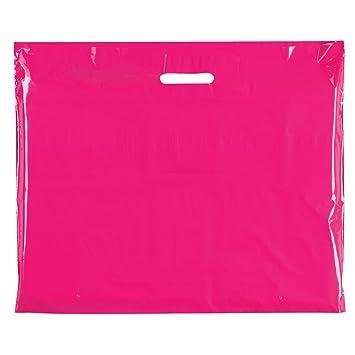 100 x fucsia Plástico resistente de color bolsas fiesta ...