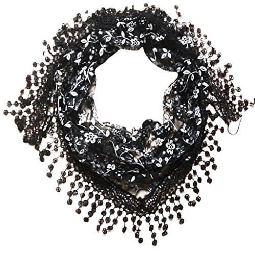 Scarf, WILLTOO Lace Tassel Sheer Floral Print Triangle Mantilla Scarf Shawl - Print Lace Scarf