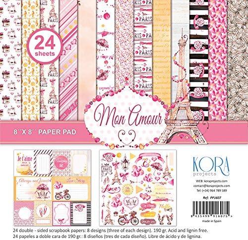 Pack de 24 papeles - Mon amour (8x8) - 20,3 x 20,3 cm: Amazon.es: Hogar