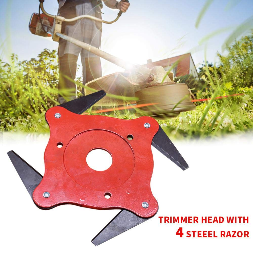 Volwco 6 Steel Blades Trimmer Head Cutter,Grass Head Razors Mower Accessories,Weeding Machine Blade Heads Mixed Color, Manganese Steel,Hole Diameter 25.4 Mm