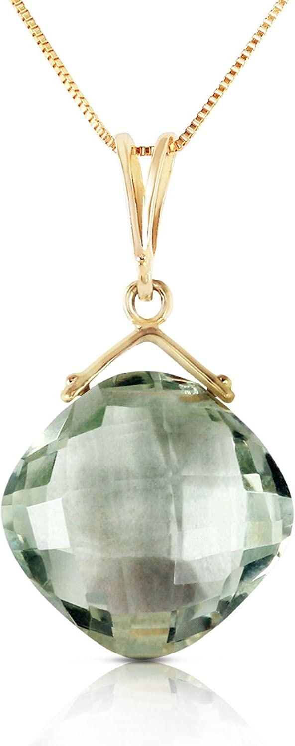 ALARRI 8.75 Carat 14K Solid Gold Distant Lover Green Amethyst Necklace with 22 Inch Chain Length