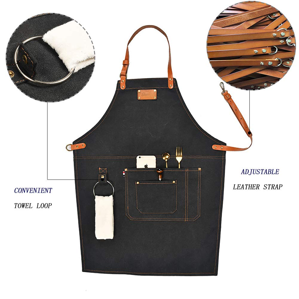 Adjustable Canvas Work Apron for Men and Women with 3 Pockets and A towel Loop, Retro Thick Sturdy Heavy Duty Wear-resistant Waterproof Bib for Woodworking, Cooking, Garden working(Black) by Starry sky12 (Image #2)