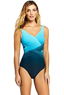 bd497464b9ada Lands' End Women's Slender Wrap One Piece Swimsuit with Tummy Control Print