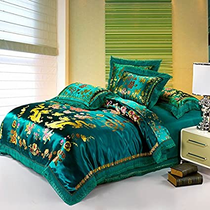bd5688ea56f Image Unavailable. Image not available for. Color  TheFit Paisley Bedding  for Man T371 Green Dragon Chinese Duvet Cover Set 100% Cotton