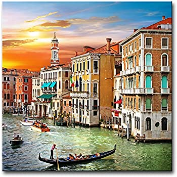 Wall Art Decor Poster Painting On Canvas Print Pictures Scenic Views of Venice Canal Boat Italy Town Landscape Framed Picture for Home Decoration Living Room Artwork