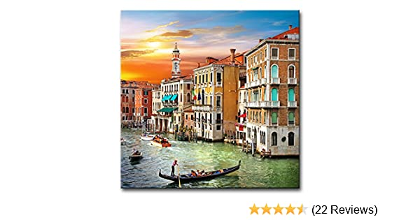 Wall Art Decor Poster Painting On Canvas Print Pictures Scenic Views Of  Venice Canal Boat Italy Town Landscape Framed Picture For Home Decoration  Living ...