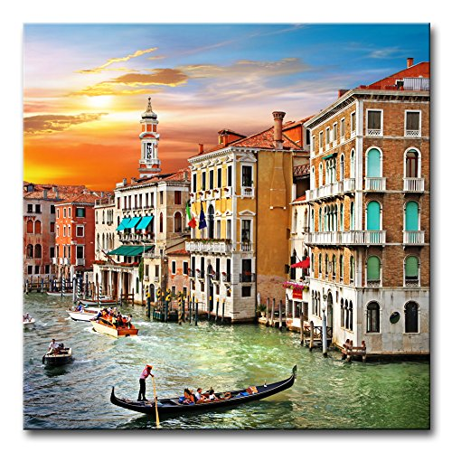 (Wall Art Decor Poster Painting On Canvas Print Pictures Scenic Views of Venice Canal Boat Italy Town Landscape Framed Picture for Home Decoration Living Room Artwork)