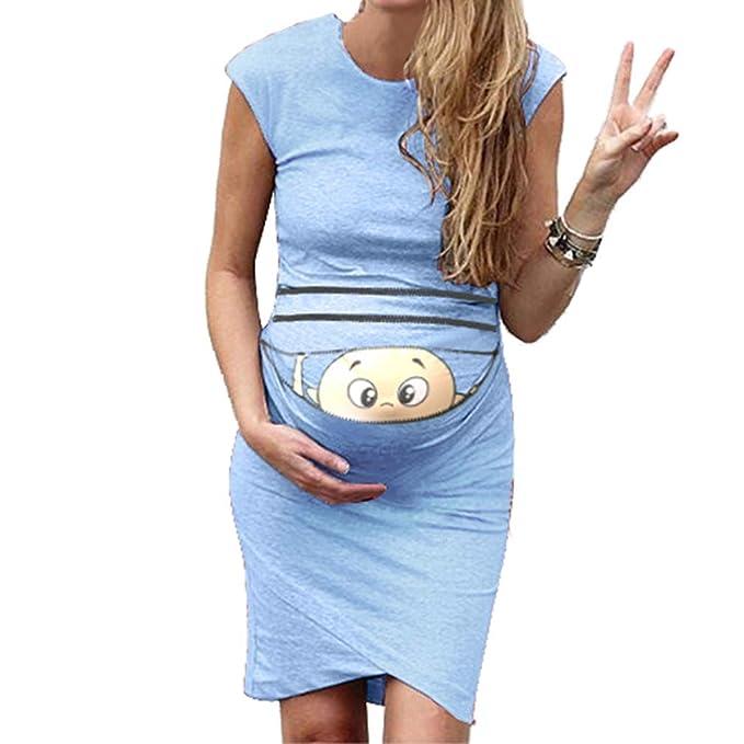 Tallas Grandes Vestido Embarazada para Premamá - Moda Slim Midi Vestidos de Maternidad con Patrón Impreso Suave Cuello Redondo Ropa de Embarazo Vestido ...