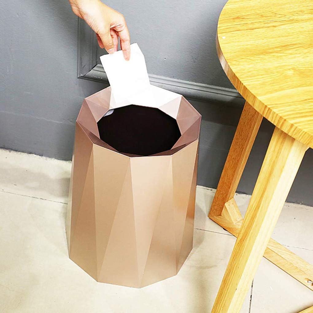 GAOLEI1 Nordic Style M/ülleimer 12L Einfarbig Einfacher Abfalleimer Runder Haushalts-Papierkorb M/ülleimer ohne Deckel mit Inneneimer f/ür B/üro Office Golden