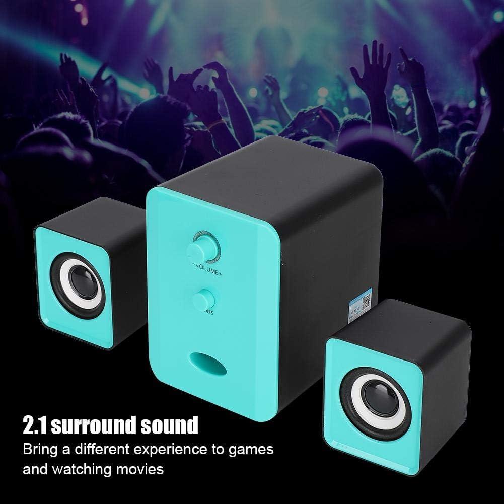 Garsent Altavoz Bluetooth para computadora Blue 4W Mini USB Heavy Bass PC Altavoces externos Multimedia para computadora port/átil de Escritorio Tel/éfono m/óvil