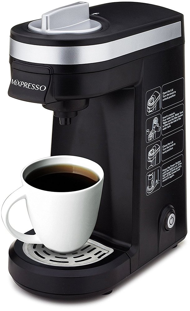 Mixpresso Original Design Single Serve One Cup Coffee Maker K Cup Compatible Travel Brewer Mixpresso Coffee