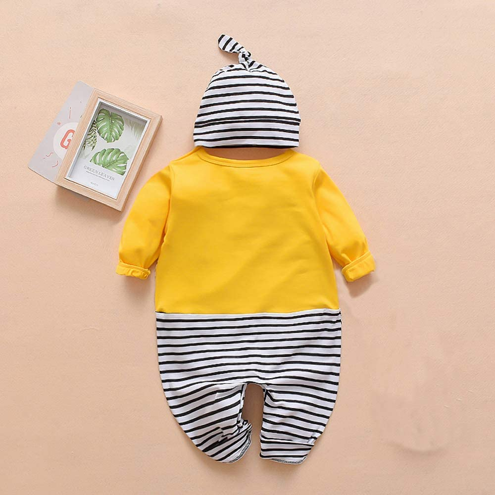 Afocuz Baby Rompers Cotton Onesies Boys Girls Long Sleeve Jumpsuit Coveralls Cartoon Outfits for Toddler Infants