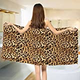 yanyanshowers Brown Bath Towel Leopard Print Animal Skin Digital Printed Wild African Safari Themed Spotted Pattern Art Cotton Beach Towel Brown (55''x28'')