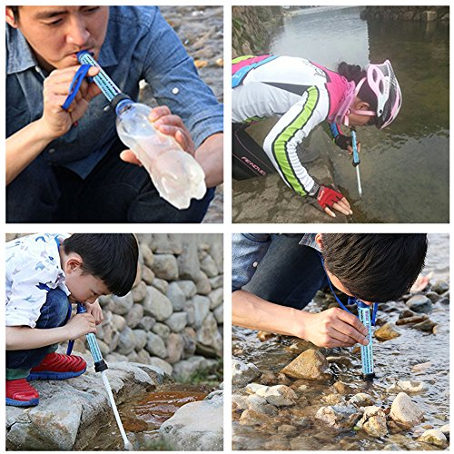 Portable Water Filter HuanLang 2000L Personal Water Purifier Straw Outdoor Survival Water Filtration kit 0.01 Micron Emergency Gear for Camping Hiking Traveling Family Life Backpacking (2PACK)