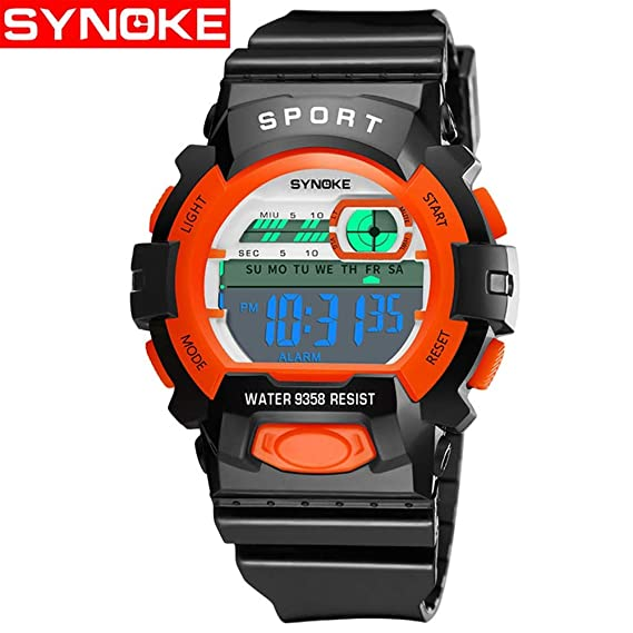 HWCOO Relojes De Pulsera SYNOKE Reloj electrónico Impermeable Reloj Deportivo de múltiples Funciones Reloj de la