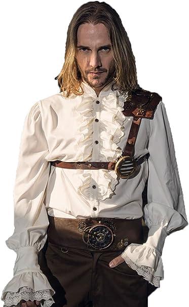 devil shackles Camisa blanca para hombre Steampunk Retro con ...