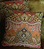 Old World Weavers Lampas Fabric Custom Designer Throw Pillows New Set 2 Bombay Coral Pumpkin