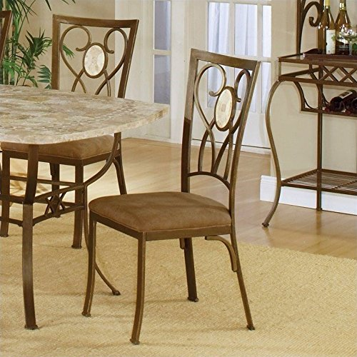 Hillsdale Brookside Oval Fossil Back Dining-Chairs, Brown Powder Coat Finish, Set of 2