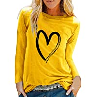 Camiseta de Manga Larga Mujer, Verano Moda Impresión Corazon Manga Larga Blusas Camisa Cuello Redondo Basica Camiseta…