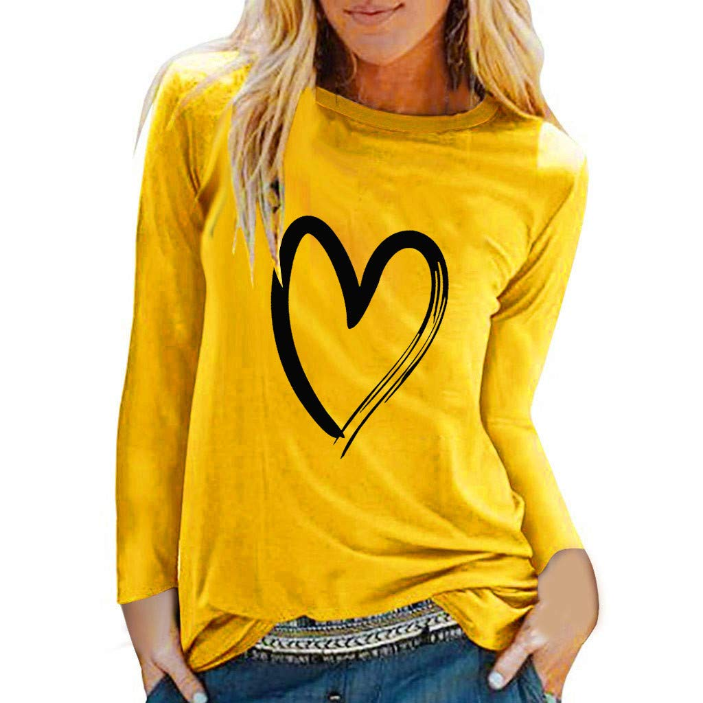 QIUUE Women's Casual Loose Plus Size Tunic Heart Printing T-Shirt Tops Long Sleeve Round Neck Pullover Sweatshirt Blouse Yellow by QIUUE