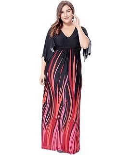 YiJee Mujer Cuello en V Impreso Vestido Talla Grande Cintura Alta Vestidos